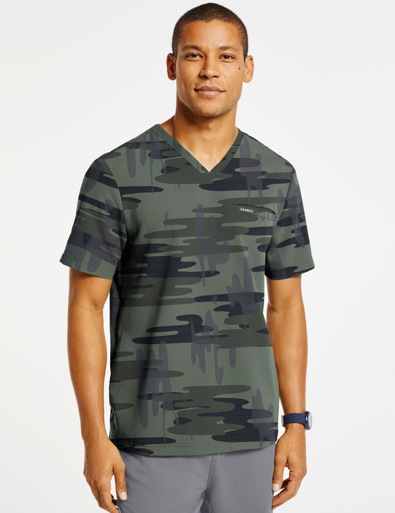 Men's 4-Pocket Printed V-Neck Top - Desert Night