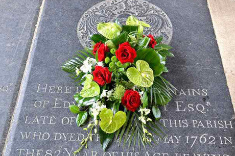 Arundel - funeral spray with tropical flowers
