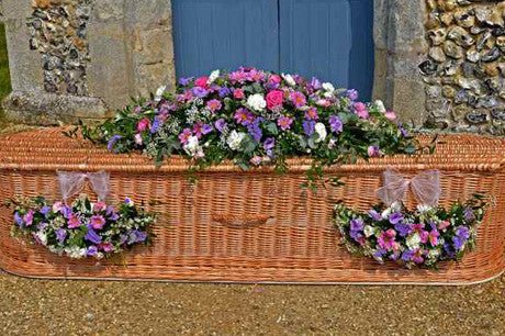 Chatsworth - double-ended coffin spray in seasonal flowers