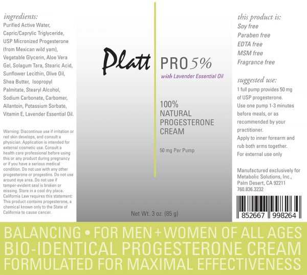 Platt Pro 5% Progesterone Cream with Lavender Essential Oil