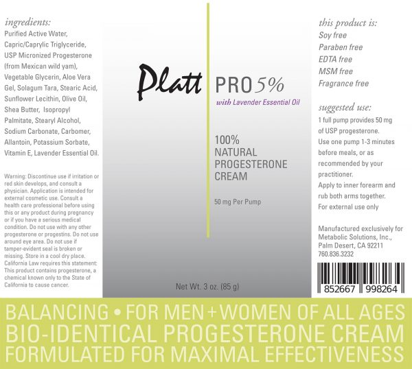 Platt Pro 5% Progesterone Cream with Lavender Essential Oil (Bioidentical)