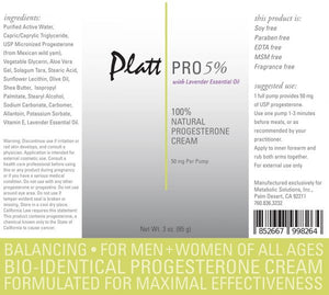 Platt Pro 5% Progesterone Cream with Lavender Essential Oil (Bioidentical)-BEST SELLER