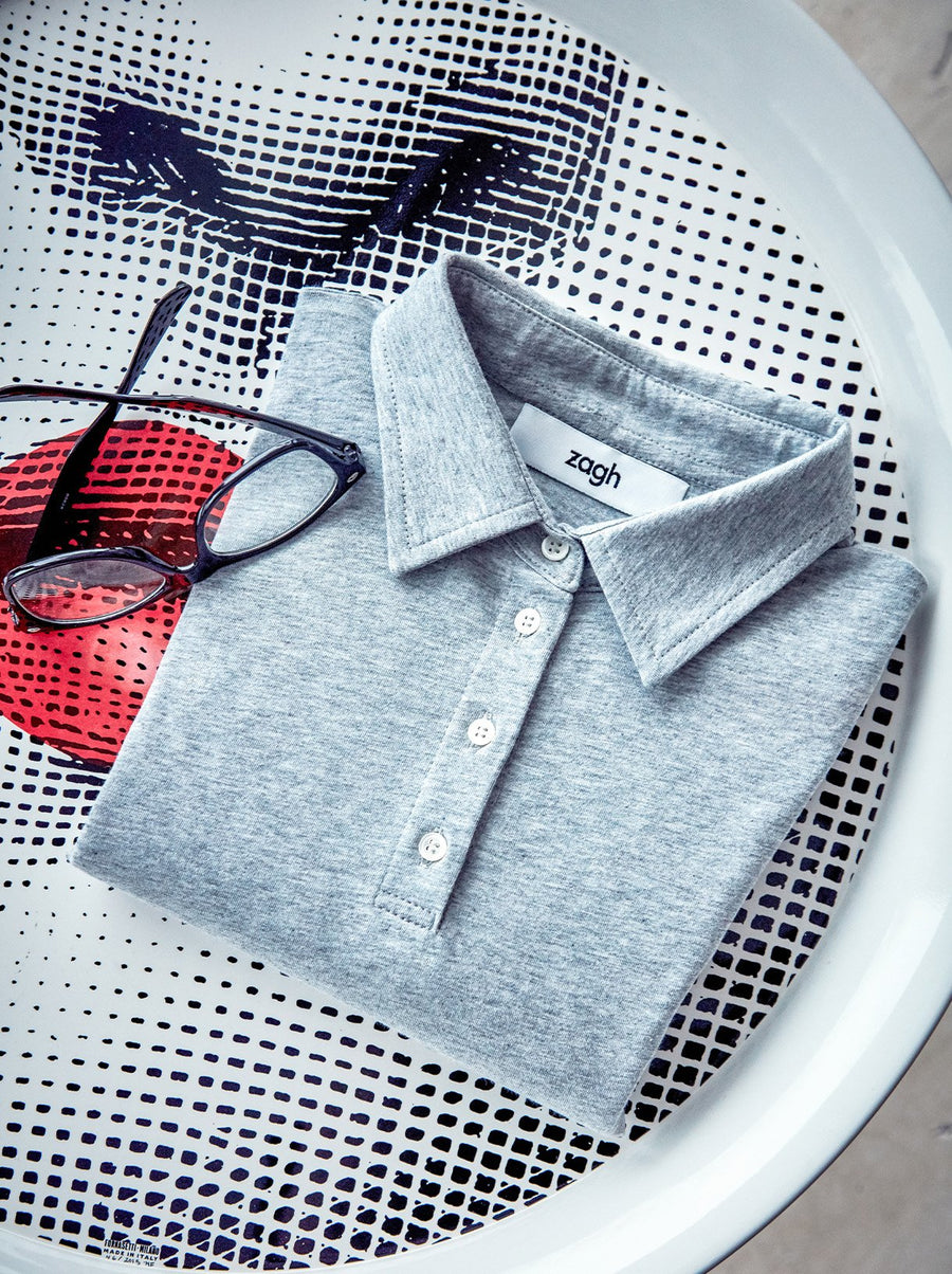 GREY COTTON POLO