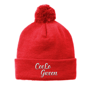 Embroidered Pom-Pom Beanie