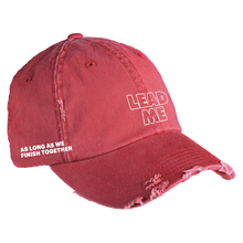 "Load image into Gallery viewer, ""Lead Me"" Red Distressed Hat (Pre-Order)"