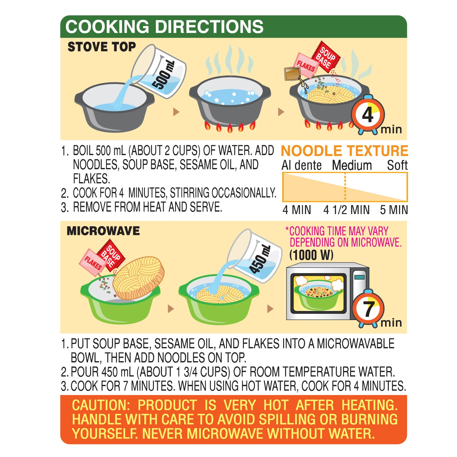 Nongshim Shin Light Air Dried Noodle Soup Cooking Instruction