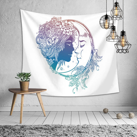 Magic Tarot Sun Moon Star Wall Hanging Tapestry - West Fairy