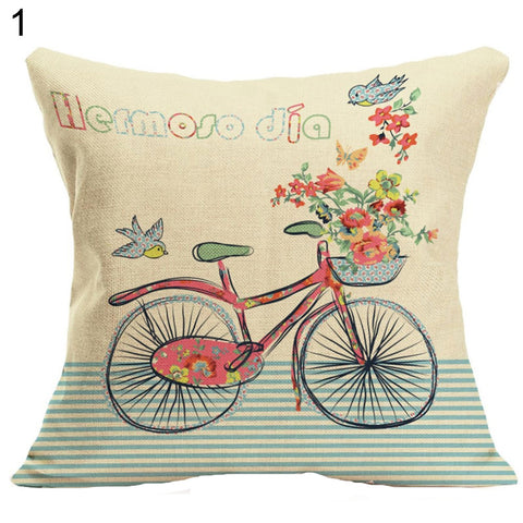 Heart Bike Throw Pillow Case Valentine's Day Gift Bed Cafe Sofa Cushion Cover - West Fairy