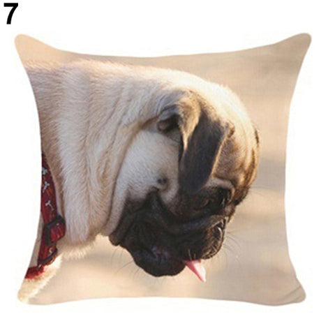 Lovely Dog Pug Elk Cat Animal Linen Cushion Decorative Throw Pillow Cover Case - West Fairy