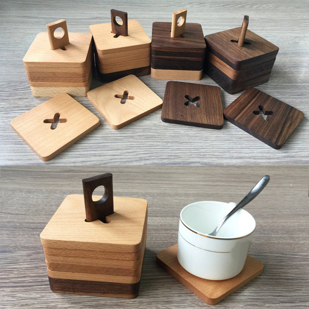SOO JOO 6Pcs Wooden Coaster