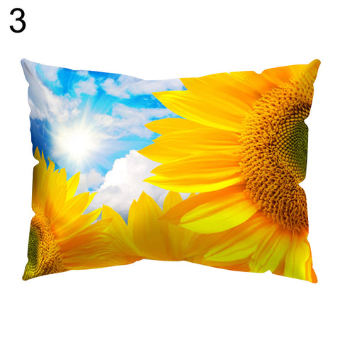 Sunflower Printed Rectangle Throw Pillow Case Sofa Bed Cushion Cover Home Decor - West Fairy