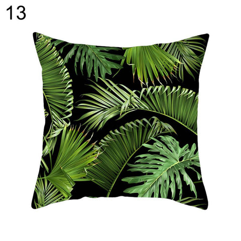 Tropical Plant Leaf Pillow Case Cushion Cover Sofa Bed Car Cafe Office Decor - West Fairy