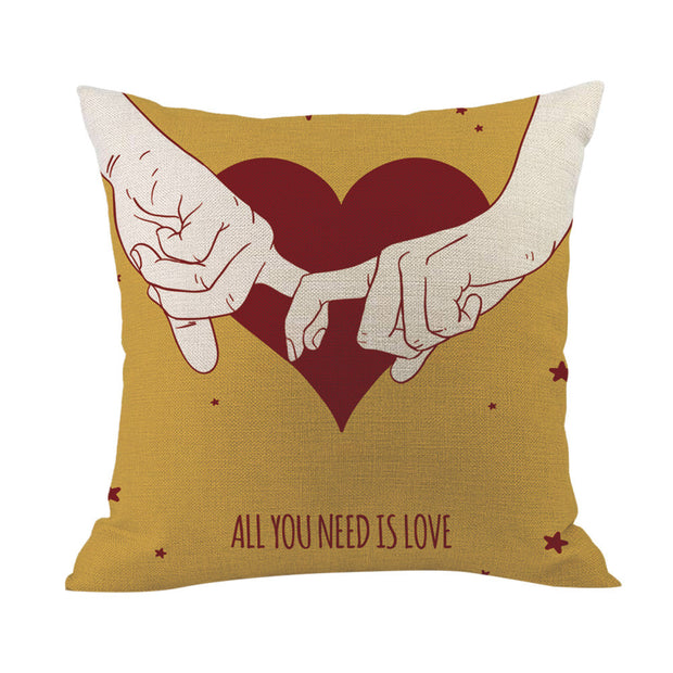 Local Store Happy Valentine Pillow Cases Cotton Linen Sofa Cushion Cover Home Decor - Westfairy.com