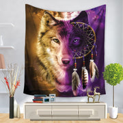 Might Night 3D Wolf Psychedelic Wall Hanging Tapestry - West Fairy