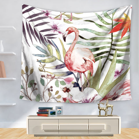 Floral Flamingo Wall Hanging Tapestry - West Fairy