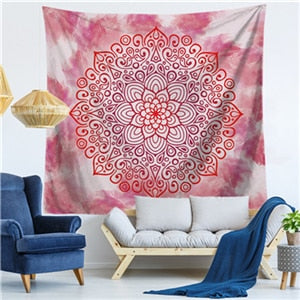 NOR T. Floral Mandala Wall Hanging Tapestry - West Fairy