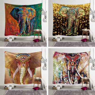 Gems Mandala Elephant Wall Hanging Tapestry - West Fairy