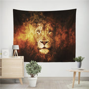 Lion Tiger Flaming Battle Wall Hanging Tapestry - West Fairy