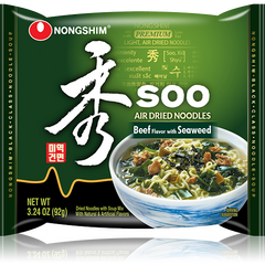 Nongshim Soo Air Dried Noodle Soup Beef Flavor with Seaweed 92g Pack