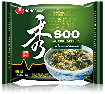 Nongshim Soo Air Dried Noodle Soup Beef Flavor with Seaweed 92g Pack - Westfairy.com