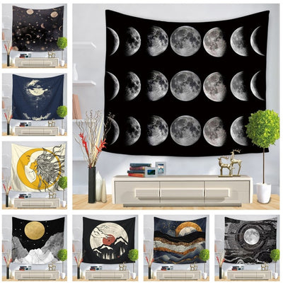 Sun Moon Stars Fortune Telling Wall Hanging Tapestry - West Fairy