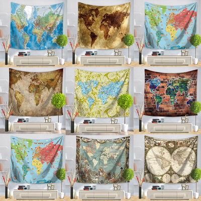 World Map Wall Hanging Tapestry - West Fairy