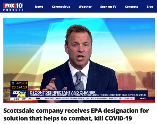Video - Fox10 News highlights D7's EPA designation for combating and killing COVID-19 Coronavirus.