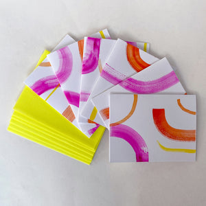 Pink Strokes Hand-Painted Notecards (Box Set)