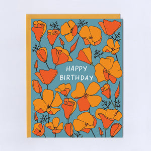 California Poppies Birthday - Greeting Card
