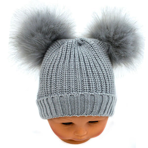 Double Pom Pom Hat Faux Fur in Grey