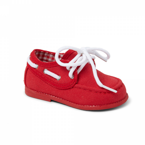 Boys Canvas Boat Shoe - Red