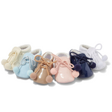Joe White Pom Pom Soft Sole Pram Shoes
