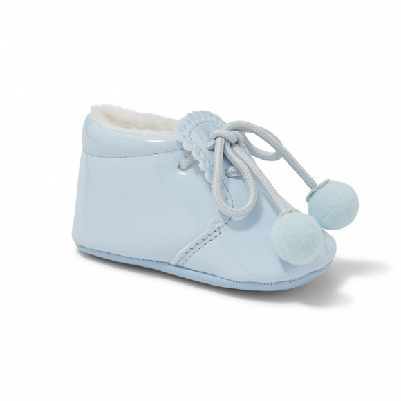 Joe Blue Pom Pom Soft Sole Pram Shoes