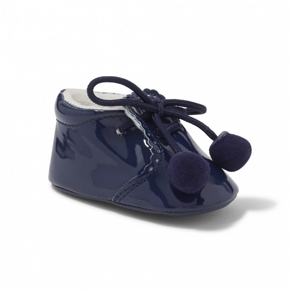 Joe Navy Pom Pom Soft Sole Pram Shoes