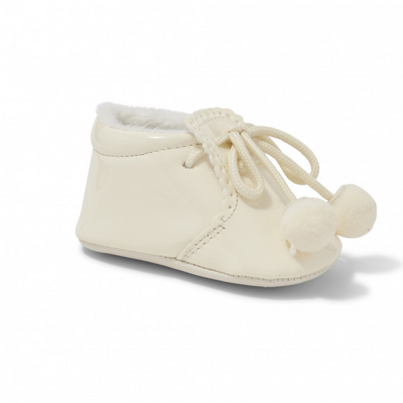 Joe Cream Pom Pom Soft Sole Pram Shoes