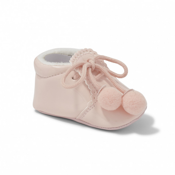 Joe Pink Pom Pom Soft Sole Pram Shoes