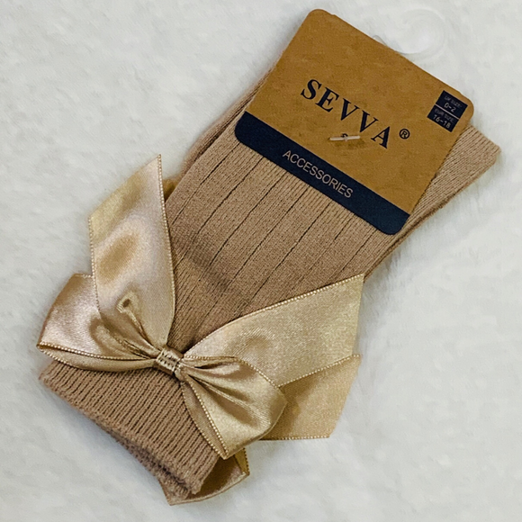 Sevva Ribbed Bow Knee Socks - Camel
