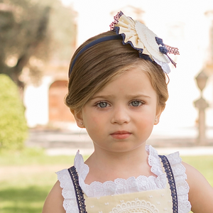 Dolce Petit Lemon/White/Navy Clip & Headband