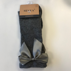 Sevva Bow Knee Socks - Grey