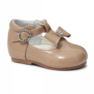 Lilly Camel Patent T Bar Shoe