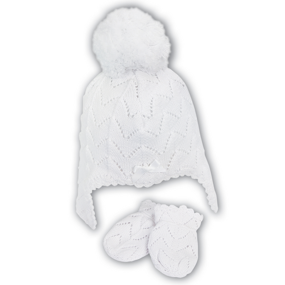 Sarah Louise White Hat & Mitten Set