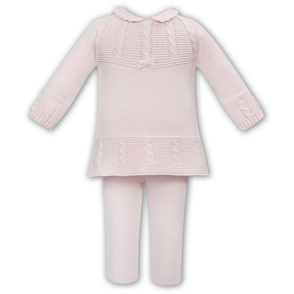 Sarah Louise Girls Pink Knit Two Piece Trouser Set