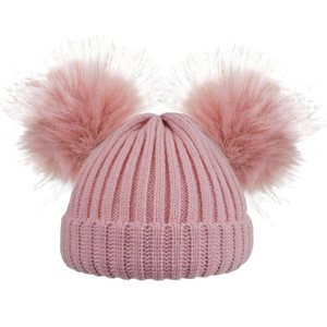 Double Pom Pom Hat Faux Fur in Dusky Pink