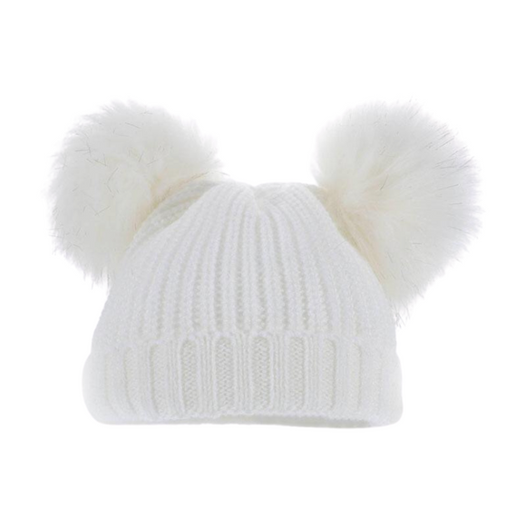 Double Pom Pom Hat Faux Fur in White