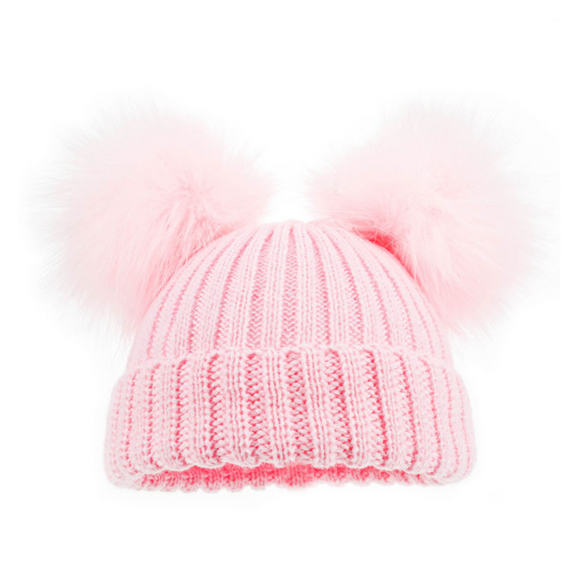 Double Pom Pom Hat Faux Fur in Pink