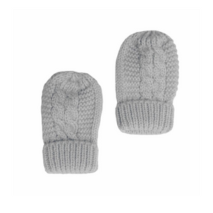 Grey Cable Knit Mittens with Turnover Cuff