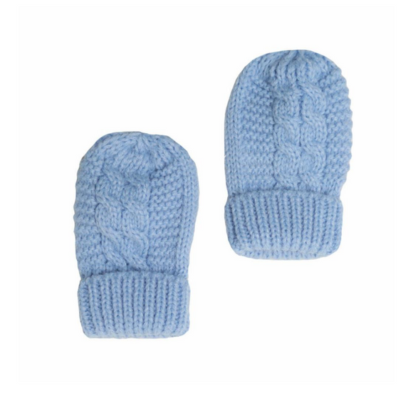 Blue Cable Knit Mittens with Turnover Cuff