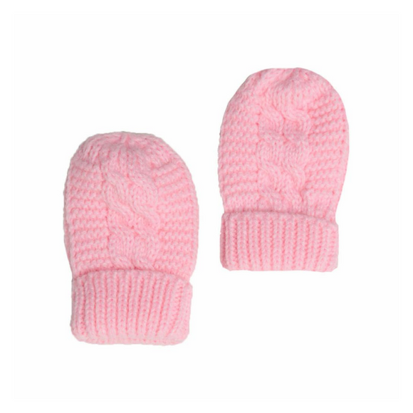 Pink Cable Knit Mittens with Turnover Cuff