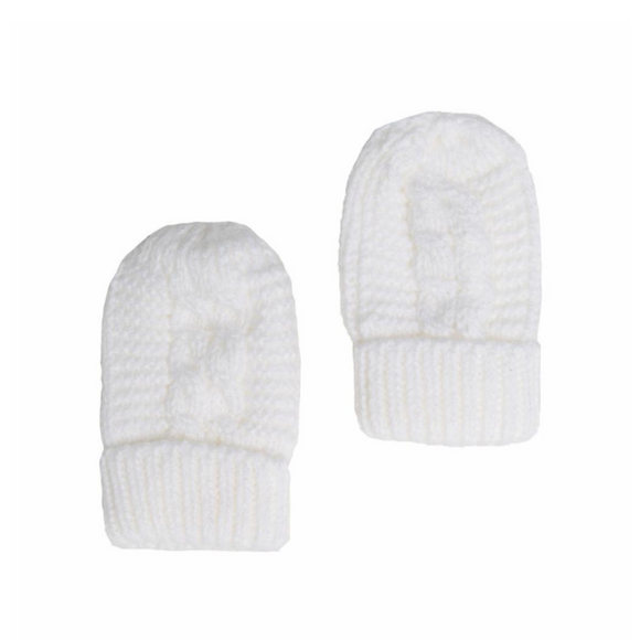 White Cable Knit Mittens with Turnover Cuff