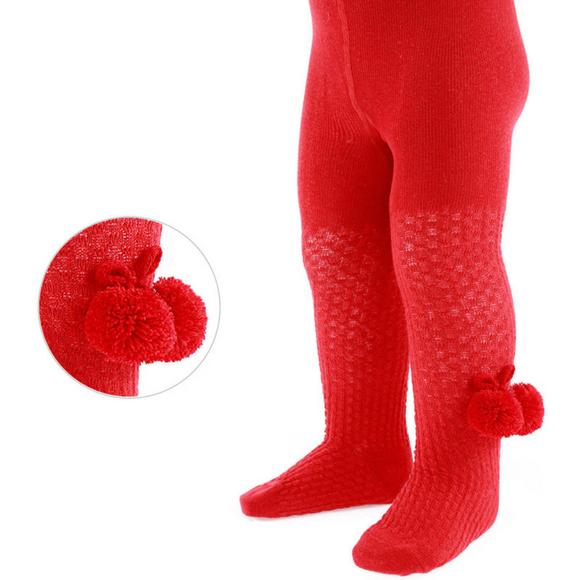 Red Pom Pom Tights